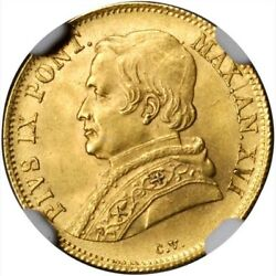 Italy Papal States 1862-r 1 Scudo Gold Coin Uncirculated Certified Ngc Ms-64