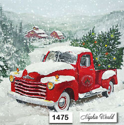 1475 Two Individual Paper Luncheon Decoupage Napkins - Christmas Red Truck