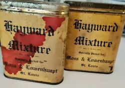 Vintage 1920s Hayward Pipe Tobacco Mixture Empty Tins With Lids 2