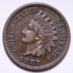 1887 Indian Head Cent Penny Choice Xf+ Au Free Shipping E796 Rc