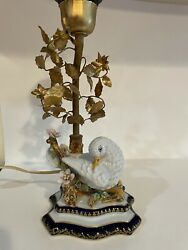 Vintage Handmade Porcelain Gold-plated Table Lamp By Guilia Mangani For Limoges