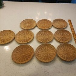 """Lot Of 10 Vintage Wicker Paper Plate Holders 9"""" Picnic Camping Bbq Retro"""