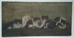Old Vtg Antique 6 Black/white Kittens Painting Stretched Canvas28x14 Cats