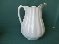Antique White Ironstone China J And G Meakin Hanley England Large Pitcher
