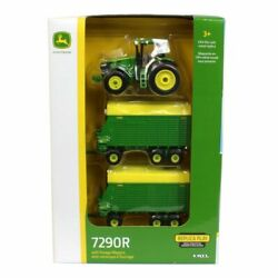 1/64 John Deere 7290r Tractor With Tandem Forage Wagons Ertl Tomy Lp70546 45684