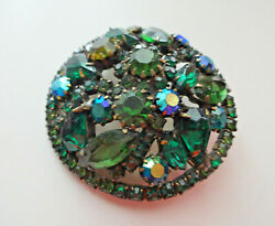 Gorgeous Huge 2 Vtg Signed Weiss Green Fruit Salad Ab Glass Rhinestone Brooch