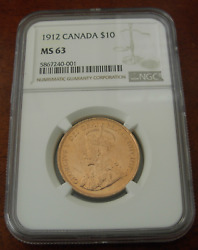 Canada 1912 Gold 10 Dollars 10 Ngc Ms63 George V