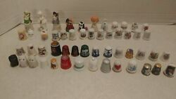 Thimbles Lot Of 51 Different Collectible Sewing Porcelain Metal Glass Wood