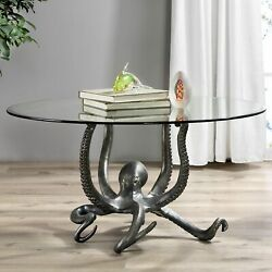 Spi Home Cast Aluminum Glass Top Octopus Coffee Table