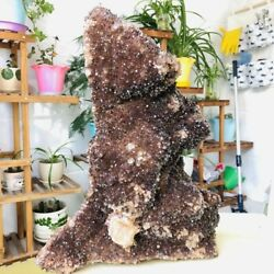 Large Rare Natural Red Ghost Pyramid Quartz Crystal Cluster Raw Mineral Specimen