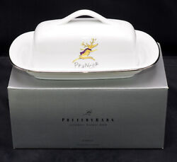 Pottery Barn Reindeer Butter Dish And Lid Christmas Prancer Exc