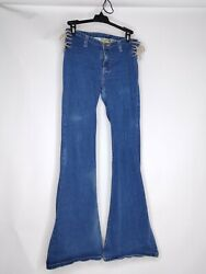 Mudd Jeans Womens Size 3 Blue Jean Pre-owned Bootcut With Side Ties Cotton Blend