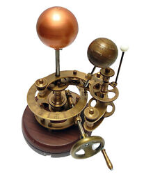 Brass Solar System Orrery With Wood Base Sun, Earth And Moon Working Model Decor
