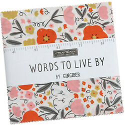 Words To Live By Moda Charm Pack 42 100 Cotton 5 Precut Fabric Quilt Squares