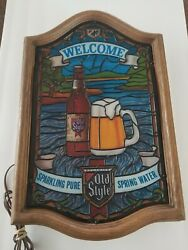 Vintage Heileman's Old Style Beer Faux Stained Glass Lighted Welcome Sign Rare.
