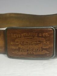 Vintage 70's Levi Strauss And Co San Francisco Cal Belt And Stamped Leather Buckle