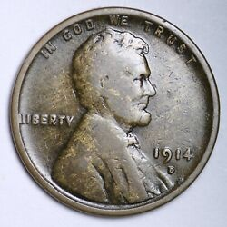 1914-d Lincoln Wheat Small Cent Choice Vg Free Shipping E144 Xcet