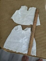Antique White Fabric Doll Slips Dress Lot For Baby Dolls