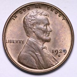 1929-s Lincoln Wheat Cent Penny Choice Bu Free Shipping E525 Aex