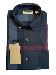 Burberry Men#x27;s Long Sleeve Check Casual Sport Fit Stretch Charcoal Shirt $150.00