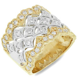 0.83 Ct 18k White Yellow Gold Natural Round Diamond Cocktail Wide Vintage Ring