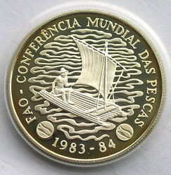 Mozambique 1983 Fisheries Conference 50m Piedfort Silver Coinproofrare