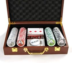 Poker Chip Set 200 Pc Chips With Carrying Leather Case Cards Buttons