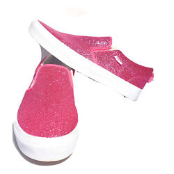 Vans Off The Wall Kids Pink Glitter Comfycush Low Top Slip On Size 5.5