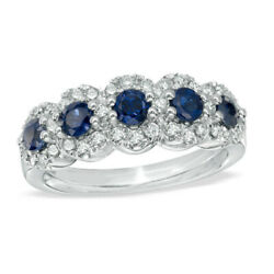 Vera Wang 1.3cttw Blue Round Cut Diamond Engagement Ring In 925 Sterling Silver