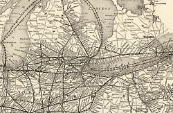 1914 Antique New York Central Railroad Map Railway Map Gallery Wall Art 9217