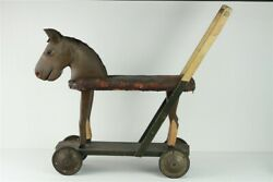Antique Large Primitive Folk Art Childs Push Pull Toy Horse Rider Ride On Toy