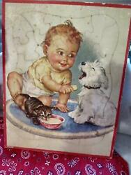 Vintage 1930s Walzer Puzzle - Charlotte Becker Print Baby With Puppy And Kitten