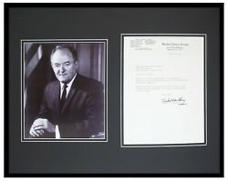 Hubert Humphrey Signed Framed 16x20 1976 Letter And Photo Display