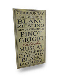 Scratch And Dent White Wine Varieties Vintage Finish Metal Wall Plaque