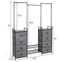 8 Drawer Fabric Dresser With Rack Multifunctional Storage Tower Metal Foldable