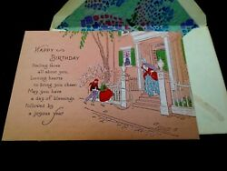 H730- Unused Art Deco Birthday Greeting Card Hand Colored Children Playing