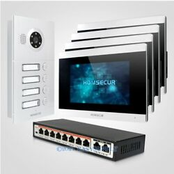Homsecur 7 Wifi Video 4 Houses Door Phone Intercom System With Voice Message