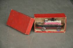 Vintage Boxed Penny/small Ship/boat Litho Tin Toy,germany