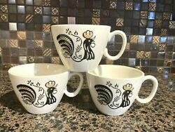 Vtg Coffee Cup Royal Good Morning Rooster Black Gold Mcm Mid Century Modern