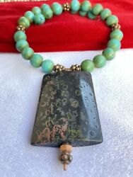 Beautiful Blue Green Turquoise Beads And Serpentine Sterling Silver Necklace