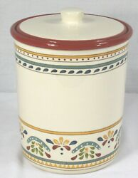 """Bobby Flay Red Sevilla 9"""" Canister/cookie Jar With Lid"""