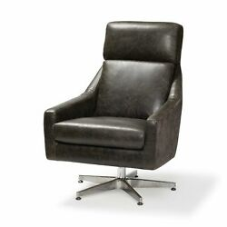 Brown Leather And Fabric Seat W/ Silver Metal Pedestal Rotating Accent Chair