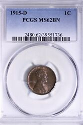 1915-d Lincoln Wheat Cent Penny Pcgs Ms62bn Free Shipping Ult