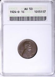 1924-d Lincoln Wheat Cent Penny Anacs Au50 Free Shipping Uccj