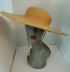 Vintage 1970s Womens Fabulous Straw Woven Brimmed Sun Sophisticated Hat