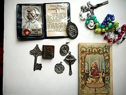 Lot Catholic 5 Medals One Sterling, Relic, Multicolor Rosary With Prayer Book