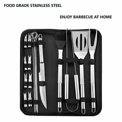 Stainless Steel Bbq Tools Set Spatula Fork Tongs Knife Brush Skewers Barbecue Gr