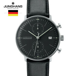 Junghans Max Bill Chronoscope 027/4601.00 Black Leather Watch For Man Andwoman