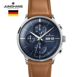 Junghans Meister Chronoscope 027/4526.00 Brown Leather Watch For Man Andwoman