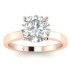 1ct H-si2 Diamond 4-prong Engagement Ring 18k Rose Gold Any Size